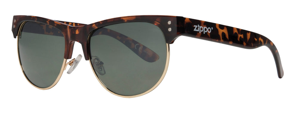 Classic Semi-Rimless Sunglasses with Patterned Brown Lenses