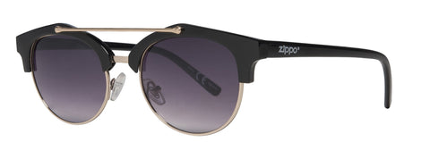 Black Semi-Rimless Sunglasses with Gold Brow Bar