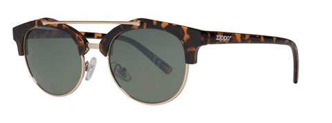 Leopard Print Cat Eye, Semi-Rimless Sunglasses with Golden Brow Bar