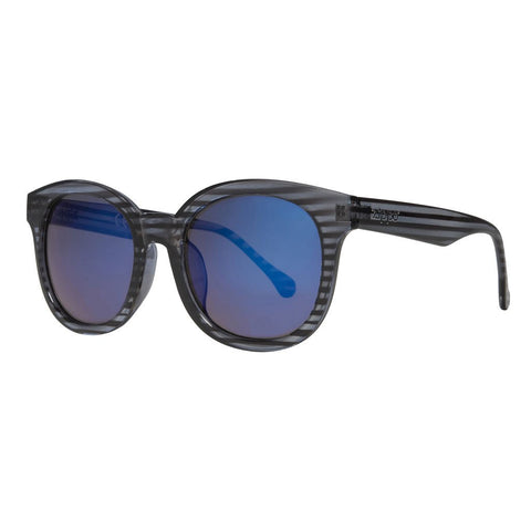 Blue Flash Lens and Grey Striped Frame Sunglasses