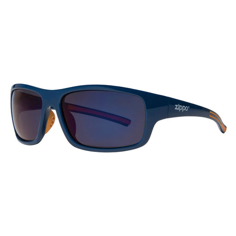 Full Frame Blue & Orange Wrap Sunglasses