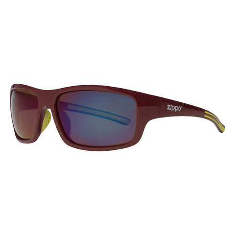 Full Frame Maroon & Green Wrap Sunglasses