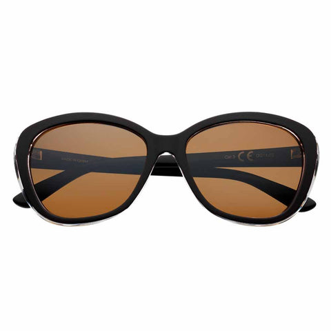 Brown Polarized Oval Sunglasses, Patterned Rim