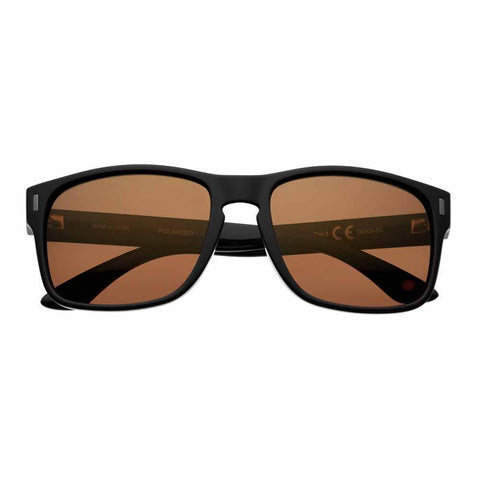 Brown Polarized Square Sunglasses with Black Rims