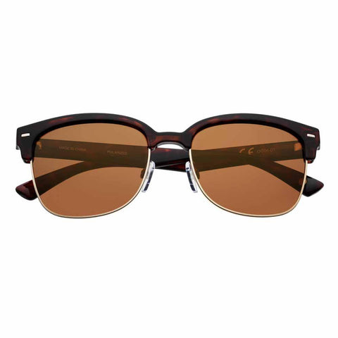 Brown Polarized Semi-Rimless Sunglasses