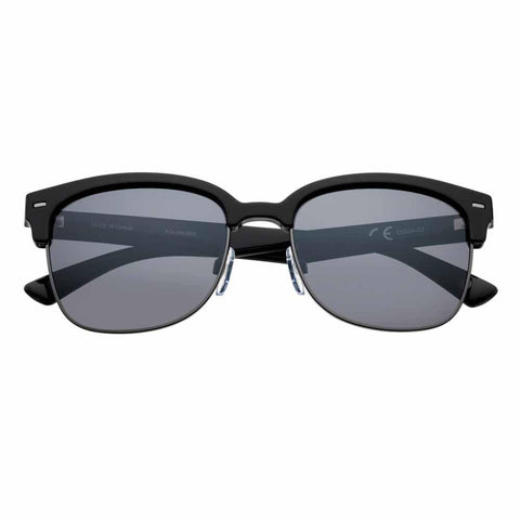 OG04-02, Black Polarized Semi-Rimless Sunglasses
