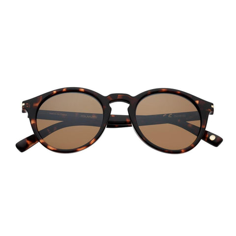 Brown Patterned Round Sunglasses with temple accents