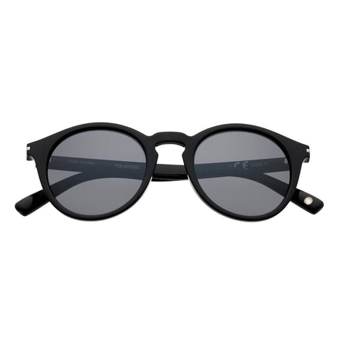 OG08-02, Black Polarized Retro Round Sunglasses