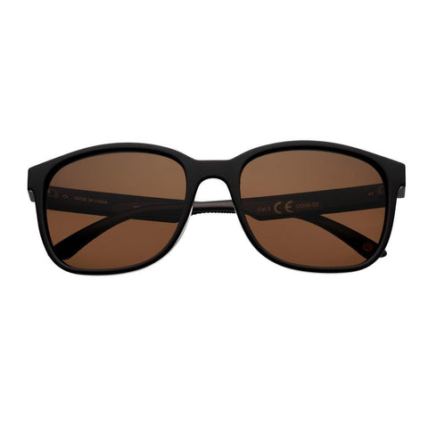 Brown Polarized Teardrop Sunglasses with Black Rims