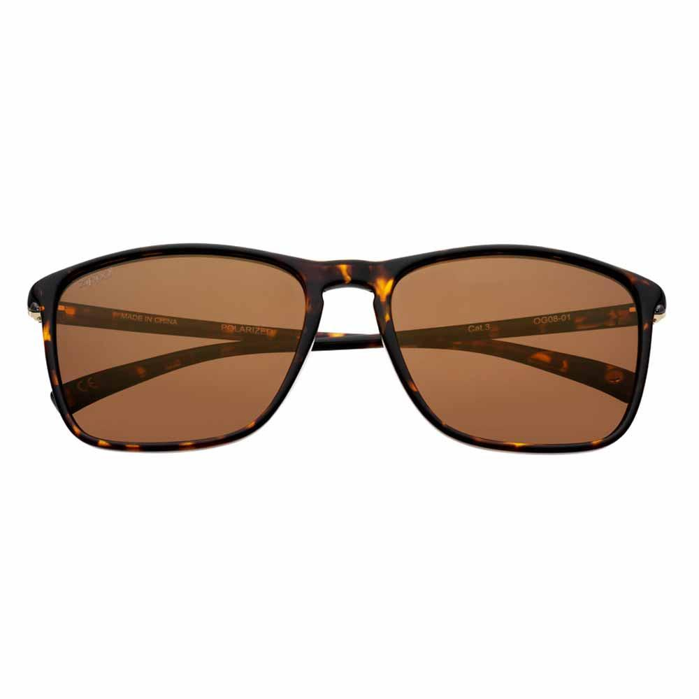 Brown Polarized Rectangular Sunglasses, Slender Patterned Rim
