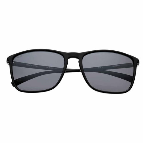 OG08-02, Black Polarized Rectangular Sunglasses