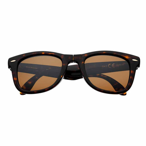 Brown Polarized Folding Sunglasses, Patterned Rim