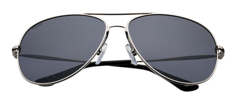 Silver Polarized Oval Pilot Sunglasses