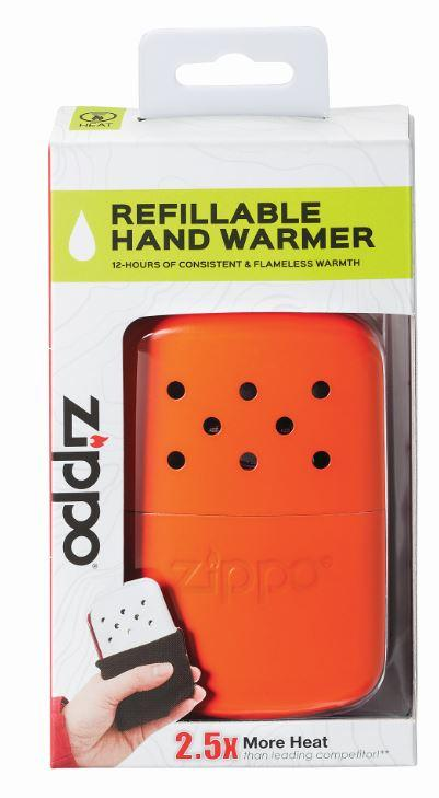 12-Hour Orange Refillable Hand Warmer in the packaging