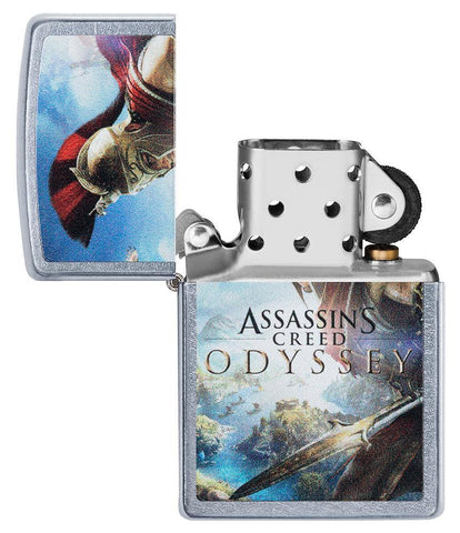 Assassins Creed Odyssey Street Chrome windproof lighter with its lid open and not lit