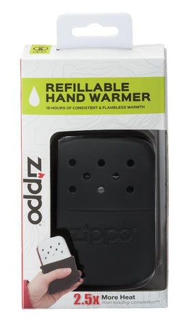 12-Hour Black Refillable Hand Warmer in the packaging