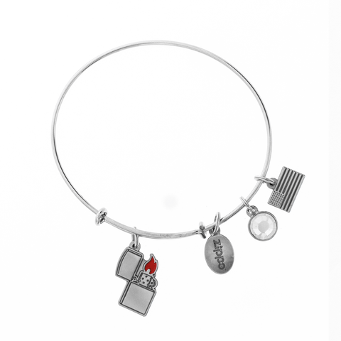 Zippo lighter charm bracelet, showing all of the charms