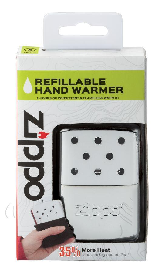 6-Hour High Polish Chrome Refillable Hand Warmer in its packaging