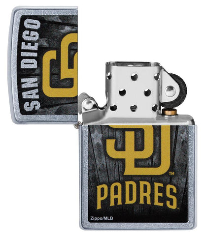 MLB San Diego Padres Lighter with the lid open and unlit
