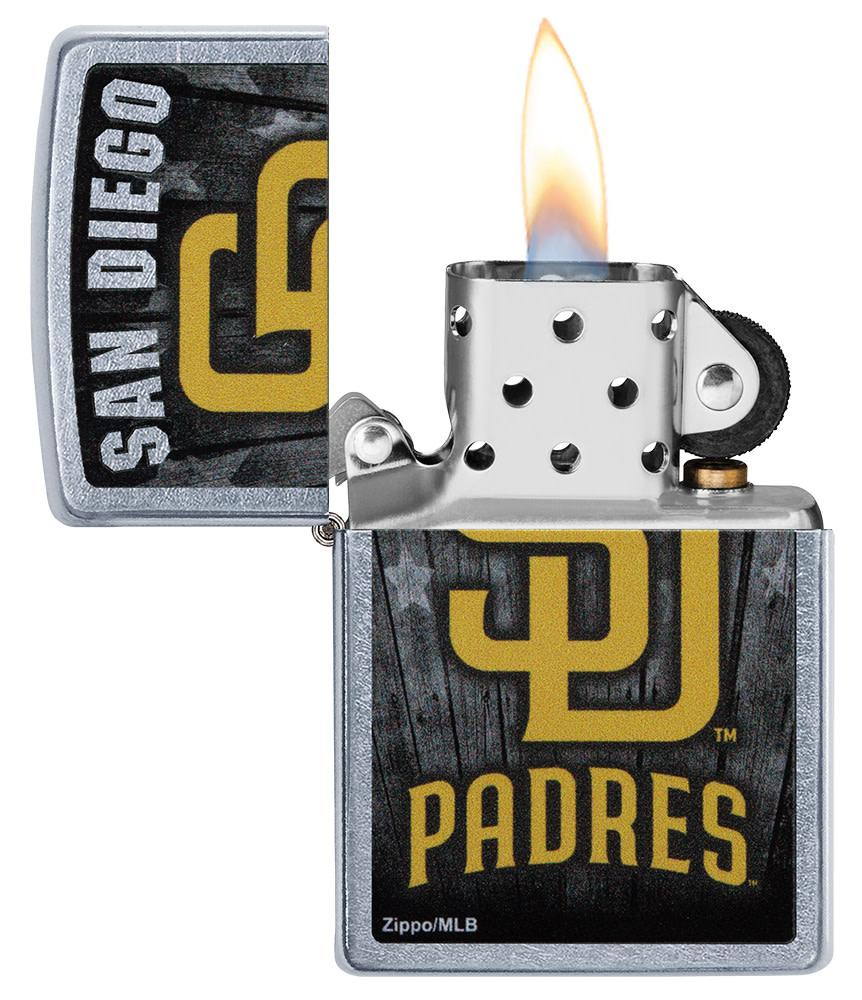 MLB San Diego Padres Lighter with its lid open and lit