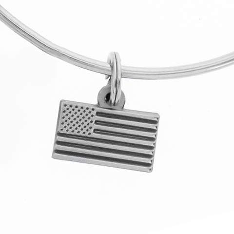 Zippo lighter charm bracelet - detail view of American flag charm