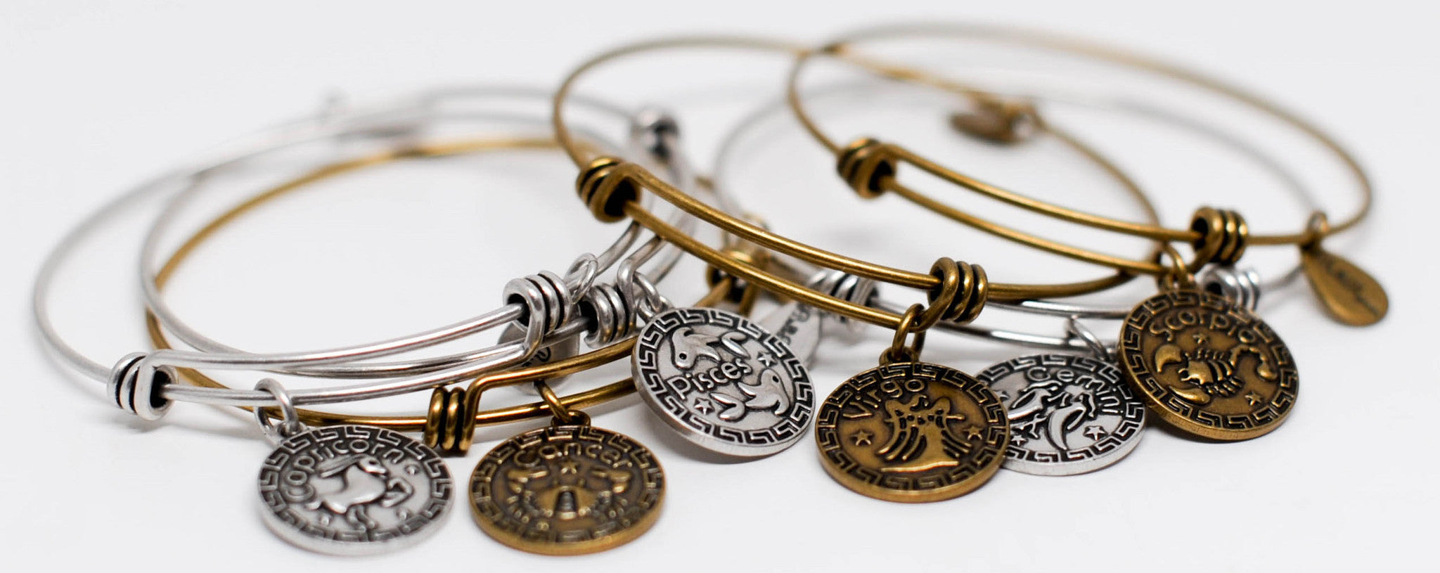 Zodiac Expandable Bangle Charm Bracelets