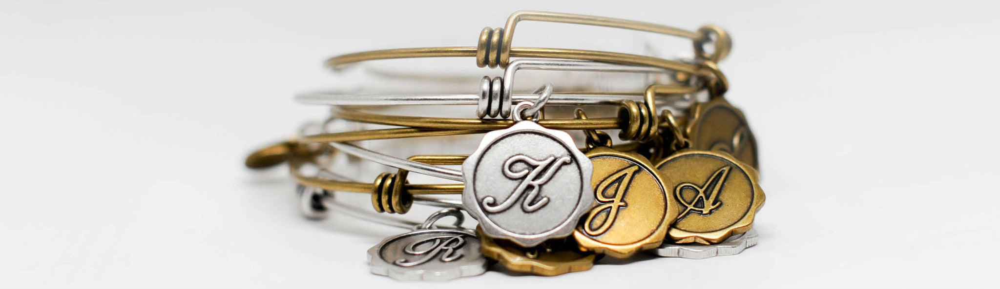 Initial Expandable Bangle Charm Bracelets