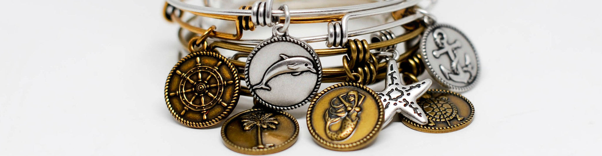 Seaside Expandable Bangle Charm Bracelets
