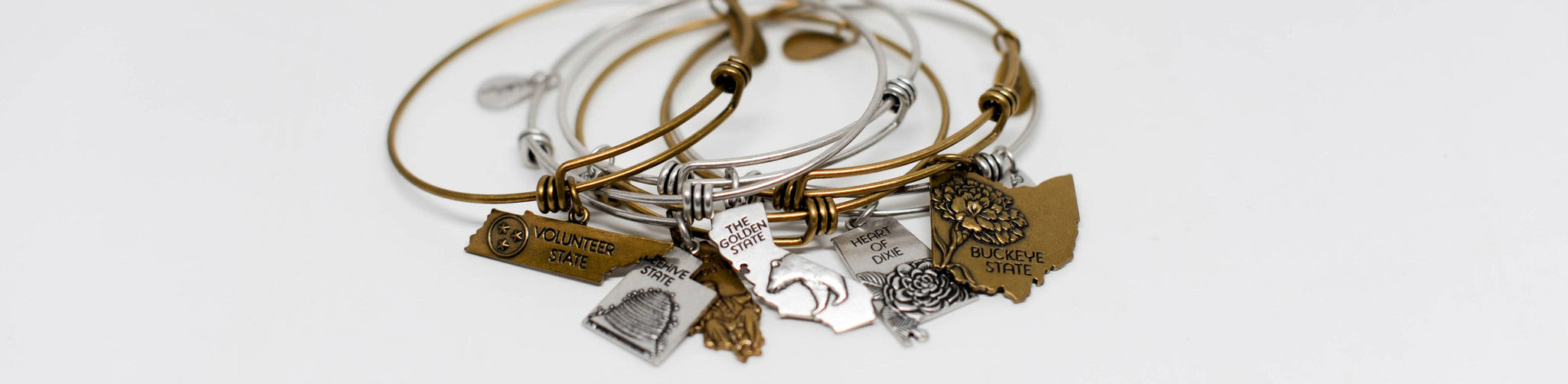 State Expandable Bangle Charm Bracelets