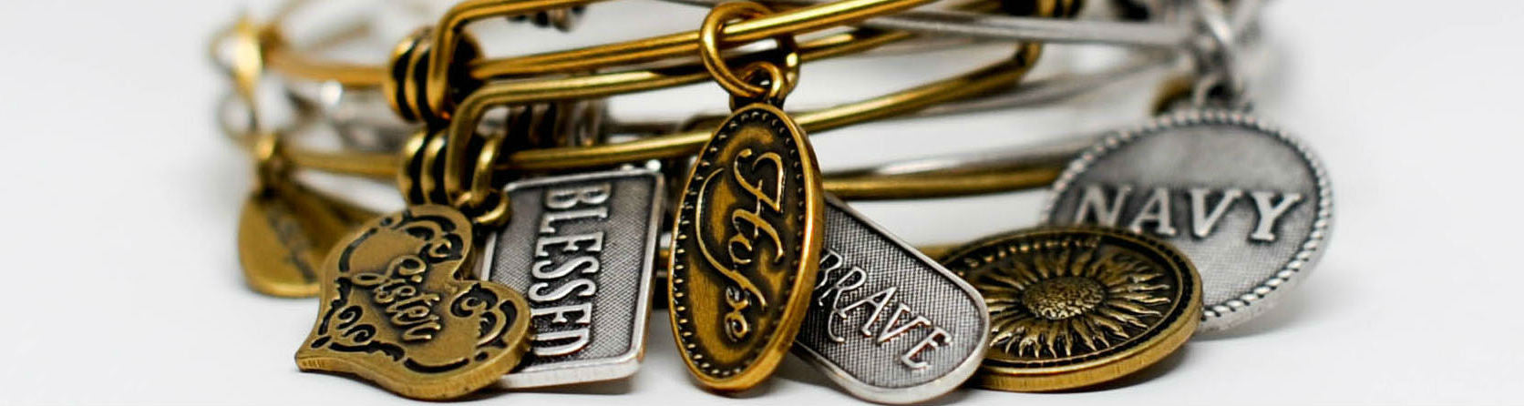 Words Expandable Bangle Charm Bracelets