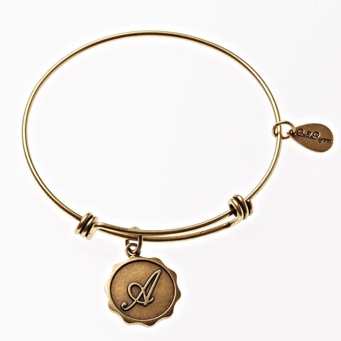 Letter A - Expandable Bangle Charm Bracelet in Gold - BellaRyann