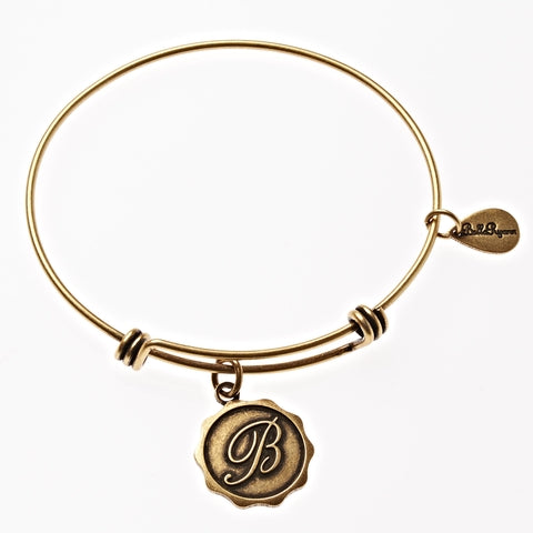 Letter B - Expandable Bangle Charm Bracelet in Gold - BellaRyann