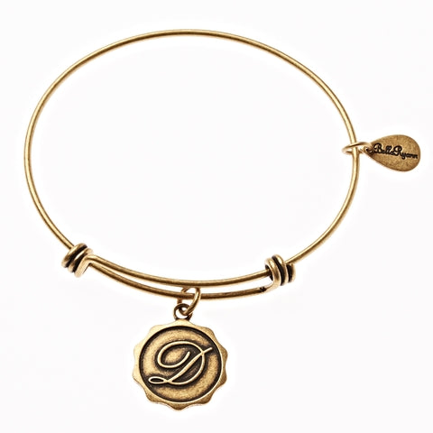 Letter D - Expandable Bangle Charm Bracelet in Gold - BellaRyann