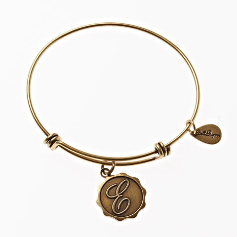 Letter E - Expandable Bangle Charm Bracelet in Gold - BellaRyann