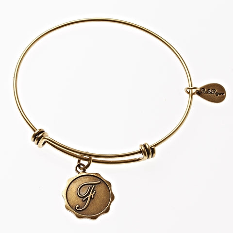 Letter F - Expandable Bangle Charm Bracelet in Gold - BellaRyann