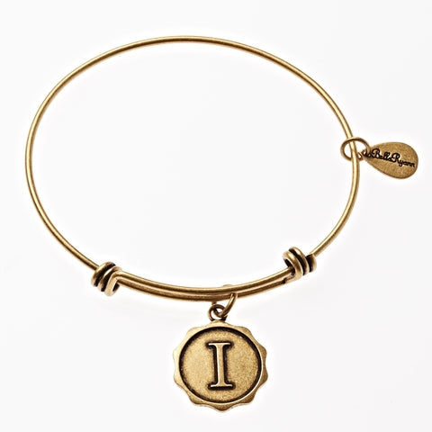 Letter I - Expandable Bangle Charm Bracelet in Gold - BellaRyann
