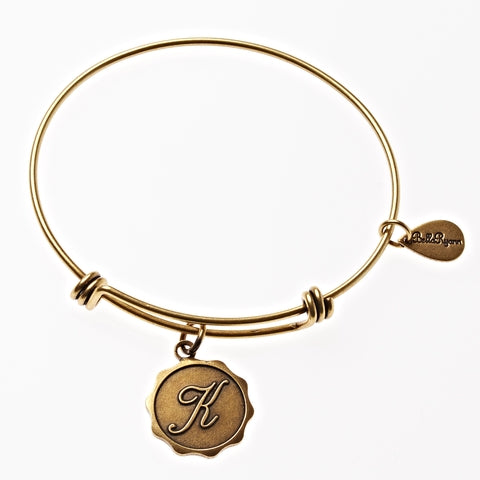 Letter K - Expandable Bangle Charm Bracelet in Gold - BellaRyann