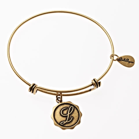 Letter L - Expandable Bangle Charm Bracelet in Gold - BellaRyann