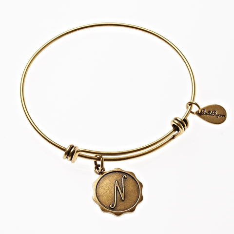 Letter N - Expandable Bangle Charm Bracelet in Gold - BellaRyann