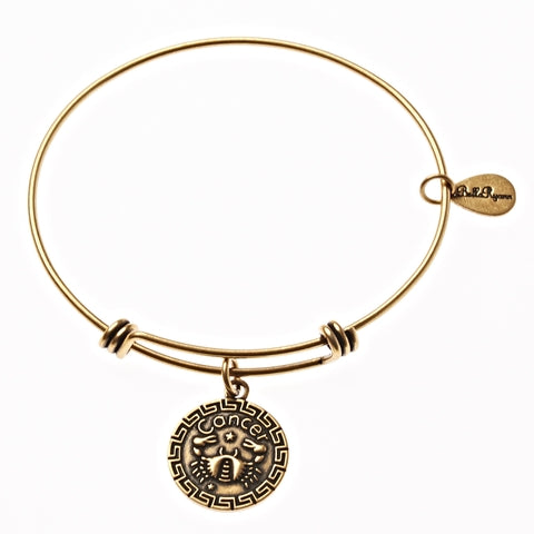 Cancer Zodiac Expandable Bangle Charm Bracelet in Gold - BellaRyann