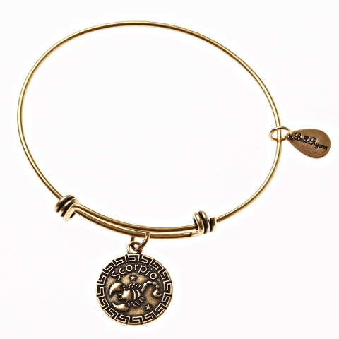 Scorpio Zodiac Expandable Bangle Charm Bracelet in Gold