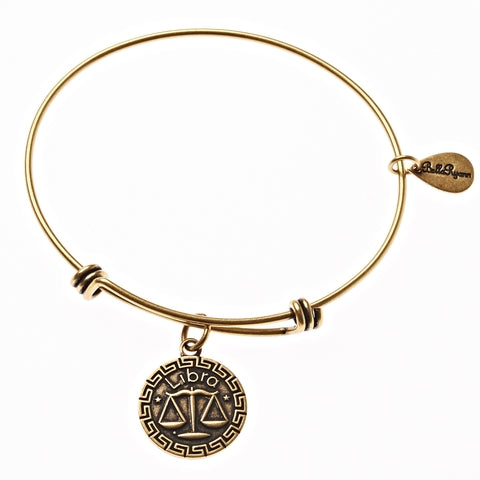 Libra Zodiac Expandable Bangle Charm Bracelet in Gold - BellaRyann