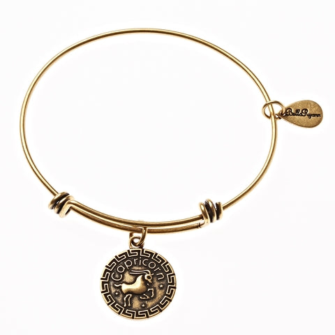 Capricorn Zodiac Expandable Bangle Charm Bracelet in Gold - BellaRyann