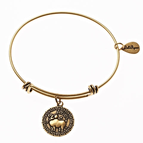 Aries Zodiac Expandable Bangle Charm Bracelet in Gold - BellaRyann