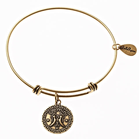 Gemini Zodiac Expandable Bangle Charm Bracelet in Gold - BellaRyann