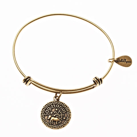 Sagittarius Zodiac Expandable Bangle Charm Bracelet In Gold - BellaRyann