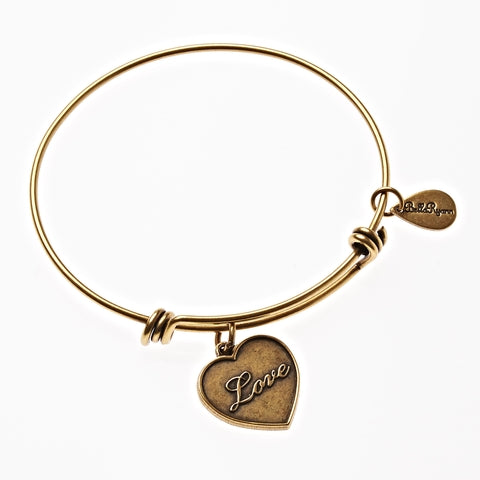 Love Expandable Bangle Charm Bracelet in Gold