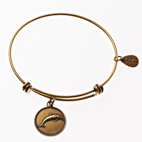Dolphin Expandable Bangle Charm Bracelet in Gold - BellaRyann