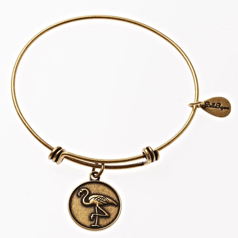 Flamingo Expandable Bangle Charm Bracelet in Gold - BellaRyann