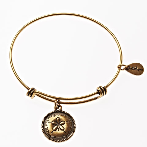 Sand Dollar Expandable Bangle Charm Bracelet in Gold